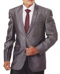 Mens Gray Polyester 4 Pc Tuxedo Suit Notch Collar