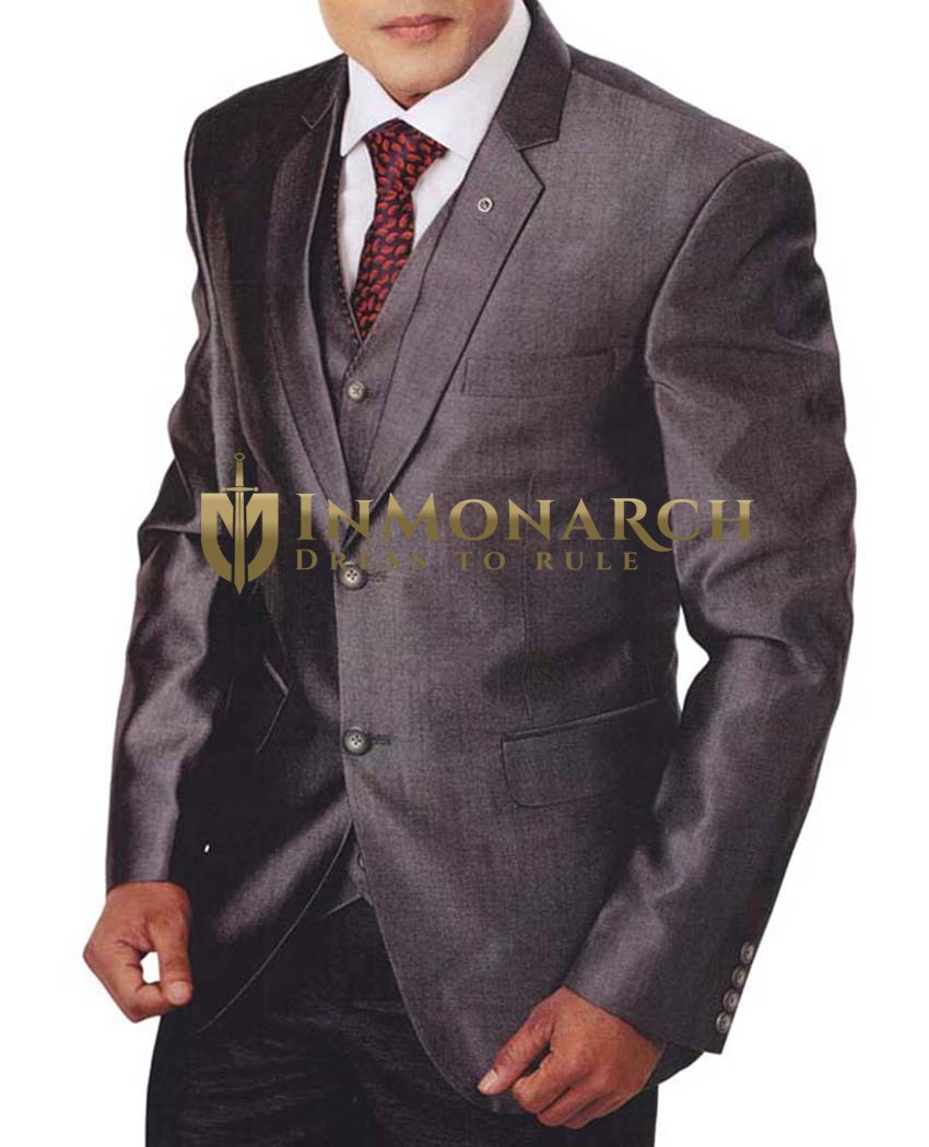 Mens Gray Tuxedo Suit 5 Pc Notch Lapel
