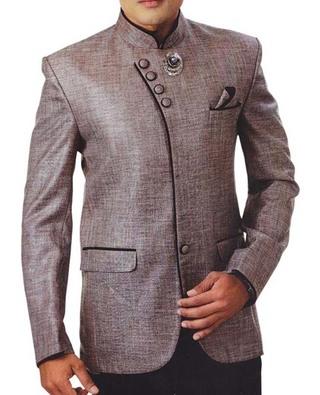 Mens Bronze 4 Pc Tuxedo Suit Angrakha Style