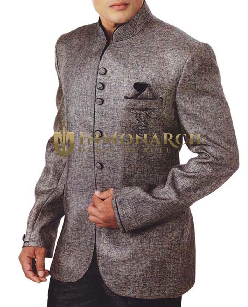 Mens Gray Jute 4 Pc Tuxedo Suit Designer
