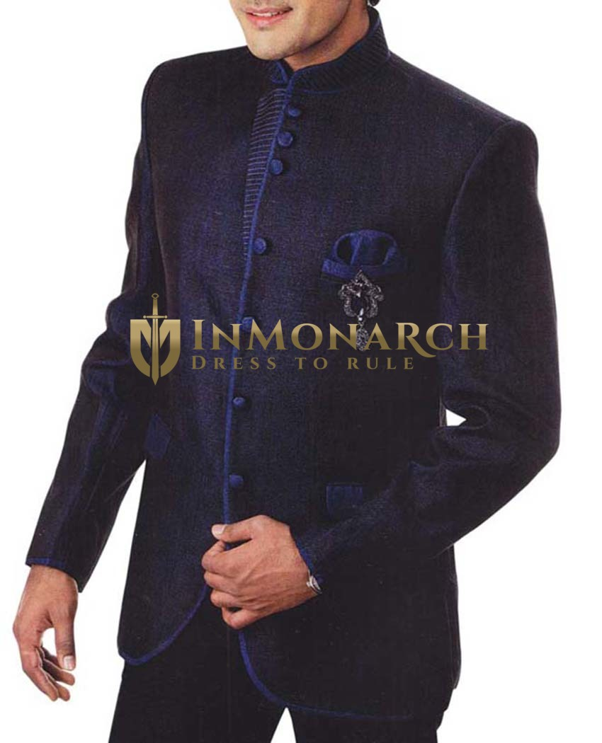 Mens Navy Blue 4 Pc Tuxedo Suit Wedding