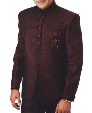 Mens Burgundy 4 Pc Tuxedo Suit Nehru Collar
