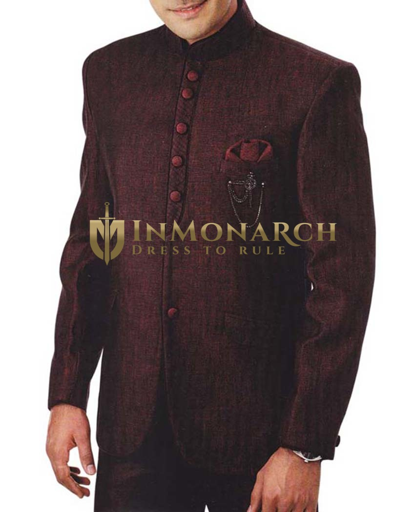Mens Burgundy 4 Pc Tuxedo Suit Nehru Collar