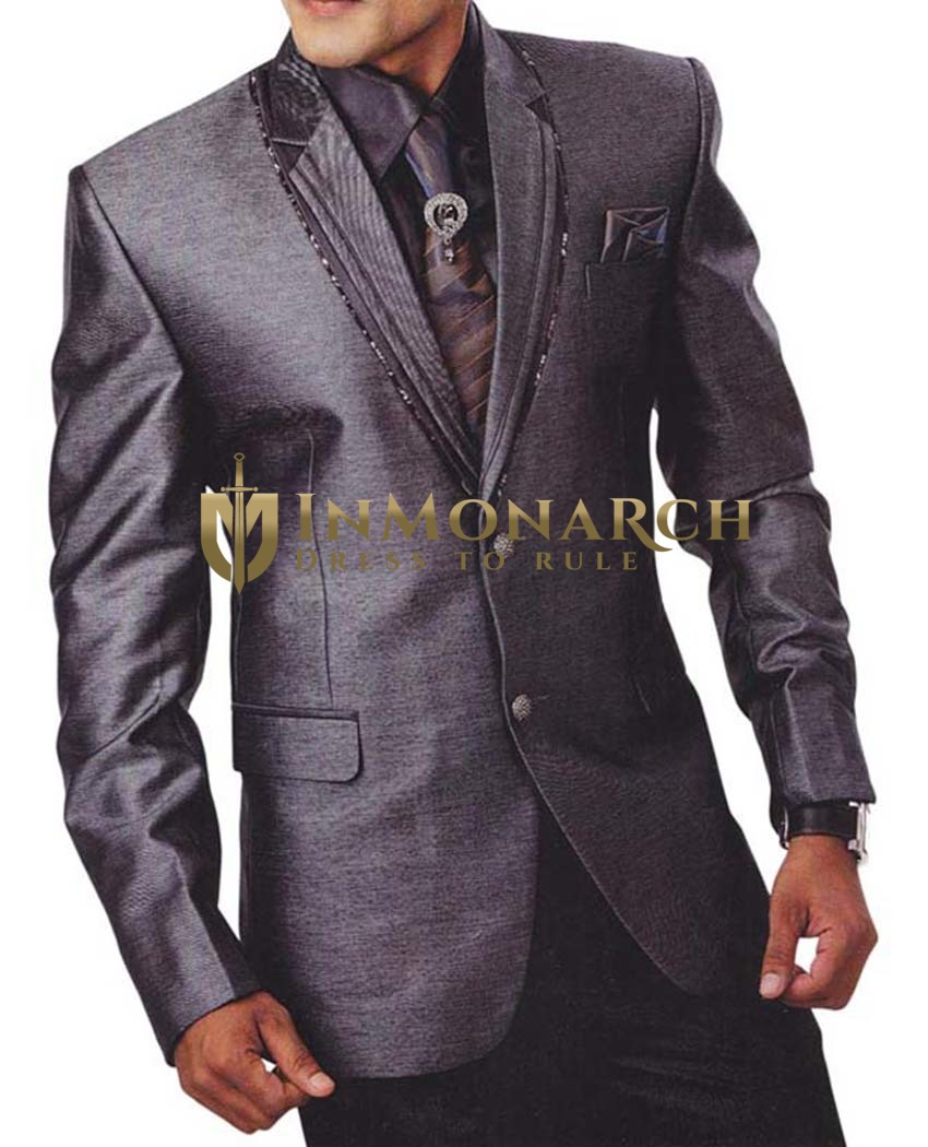 Mens Gray 6 Pc Wedding Tuxedo Suit