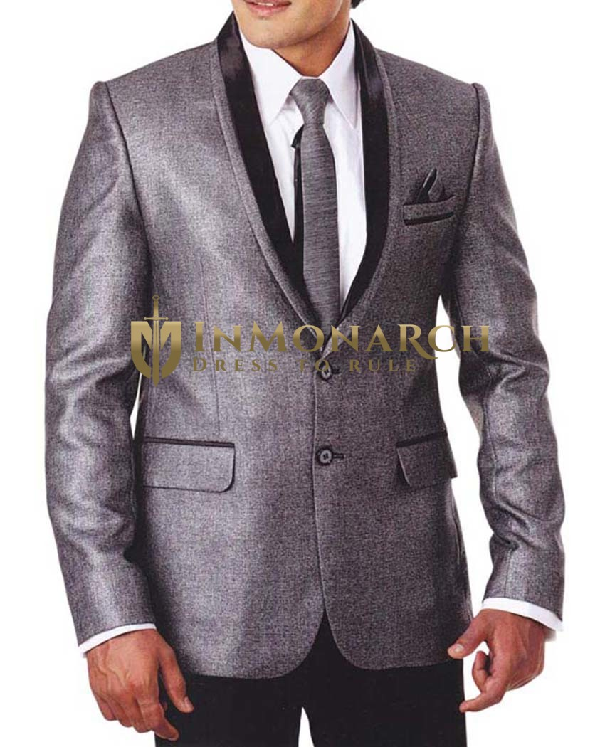 Mens Gray 5 Pc Tuxedo Suit Shawl Lapel