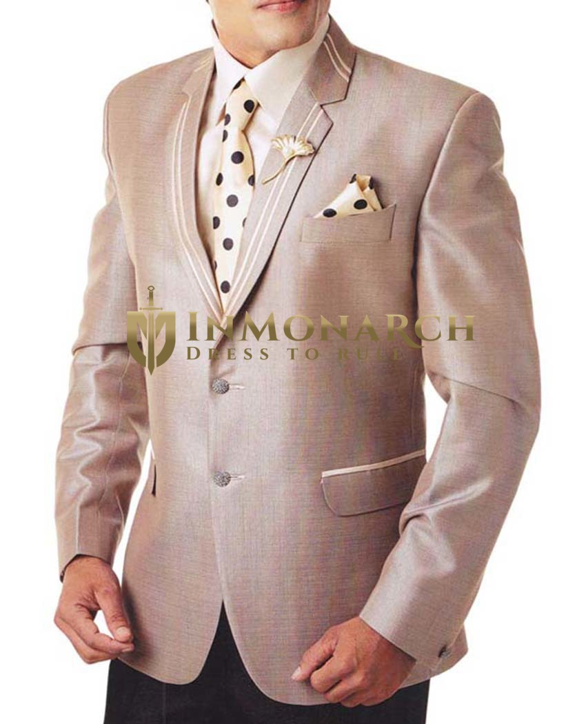 Mens Beige 6 Pc Tuxedo Suit Two Button