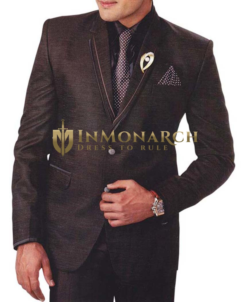 Mens Brown 6 Pc Tuxedo Suit Royal Look