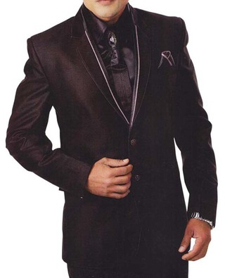 Mens Black 6 Pc Tuxedo Suit Trendy Designer