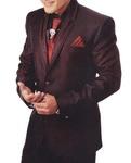 Mens Burgundy Classic 6 Pc Tuxedo Suit