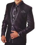 Mens Purple Wine 7 Pc Tuxedo Suit One Button