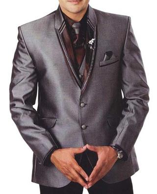 Mens Gray 7 Pc Reception Tuxedo Suit