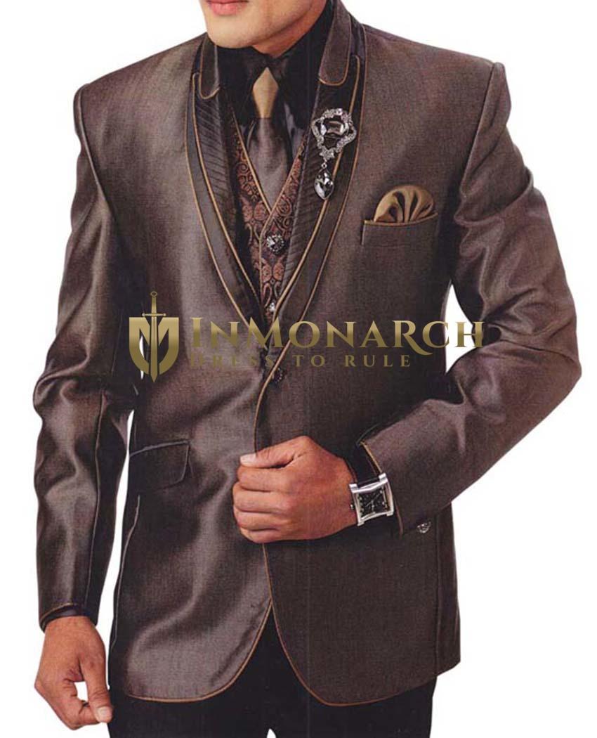 Mens Bronze 7 Pc Tuxedo Suit Golden Piping