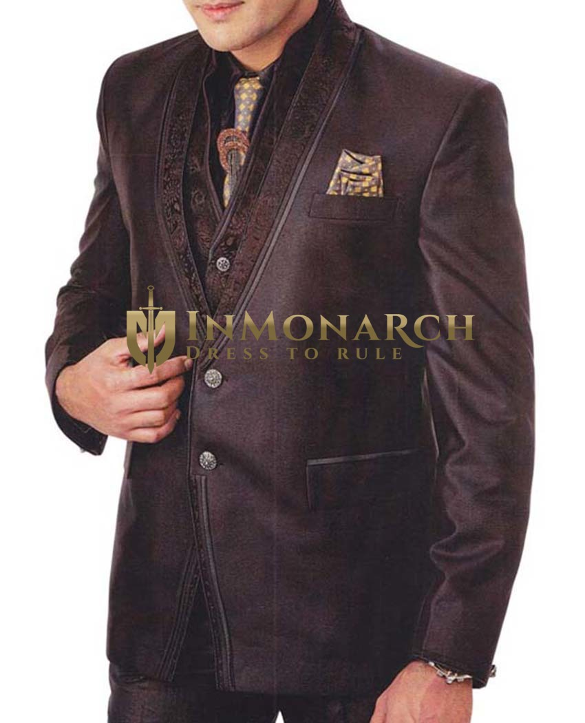Mens Brown 7 Pc Tuxedo Suit Designer