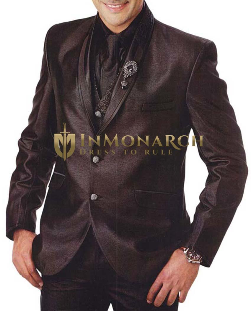 Mens Brown 6 Pc Tuxedo Suit Shawl Lapel