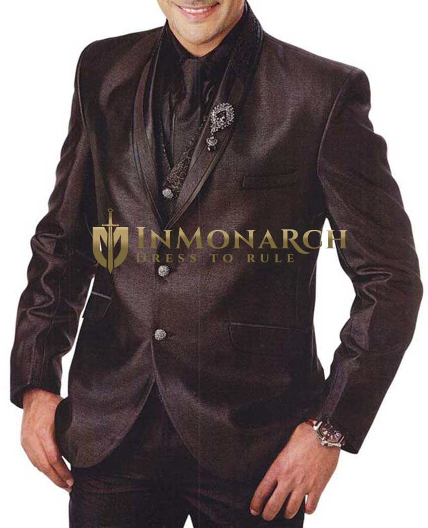Mens Brown 6 Pc Tuxedo Suit Shawl Lapel