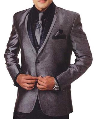 Mens Gray Tuxedo Suit 7 Pc Notched Lapel