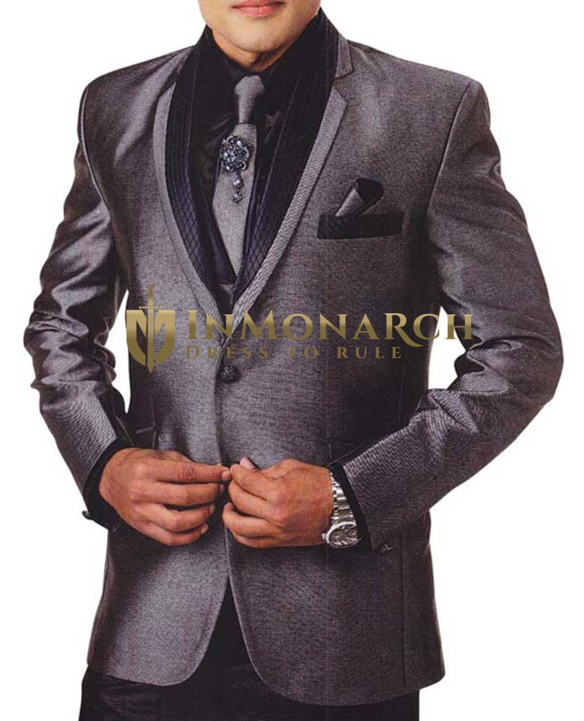 Mens Gray Tuxedo Suit 7 Pc Notched Lapel