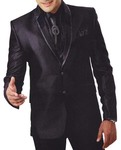 Mens Black 7 Pc Tuxedo Suit Party Wear