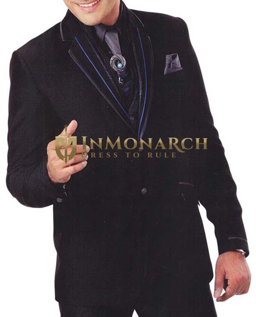 Mens Black 7 Pc Tuxedo Suit Notched Lapel