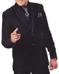 Mens Black 7 Pc Tuxedo Suit Notched Lapel