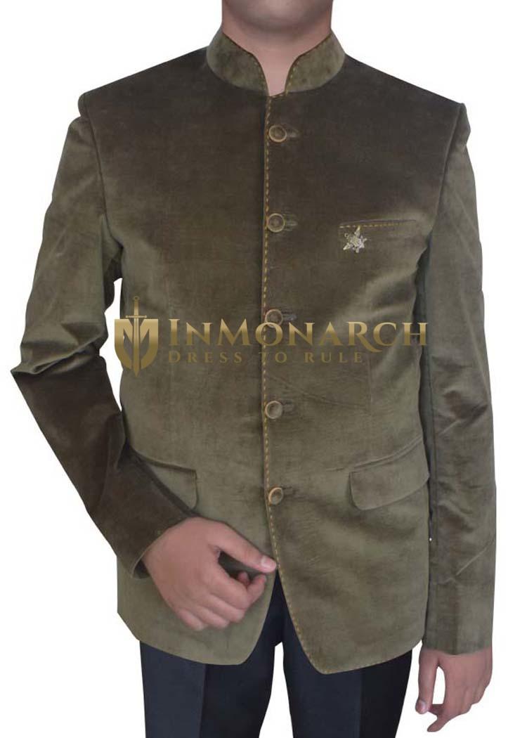 Mens Olive Drab 2 Pc Velvet Tuxedo Suit Bandhgala