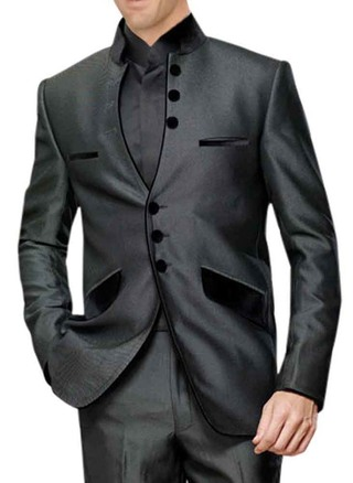 Mens Dark Grey 3 Pc Tuxedo Suit Indian Wedding