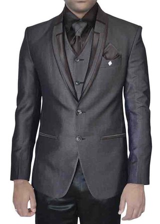 Mens Dark Gray 7 Pc Tuxedo Suit Two Button