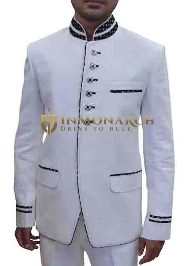 Mens White 2 Pc Linen Tuxedo Suit 6 Button