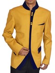 Mens Yellow 2 Pc Polyester Tuxedo Suit Trimmed