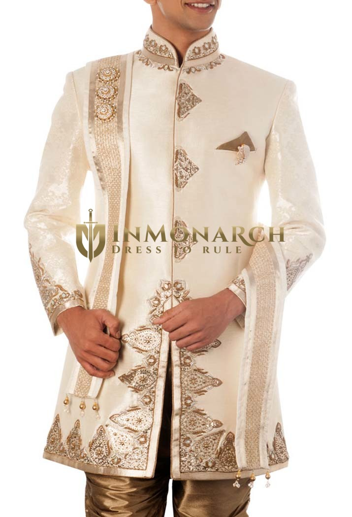Mens Sherwani Cream 5 Pc Wedding Sherwani For Men Designer