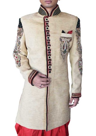 Mens Sherwani For Men Beige Velvet Wedding Sherwani Trimmed