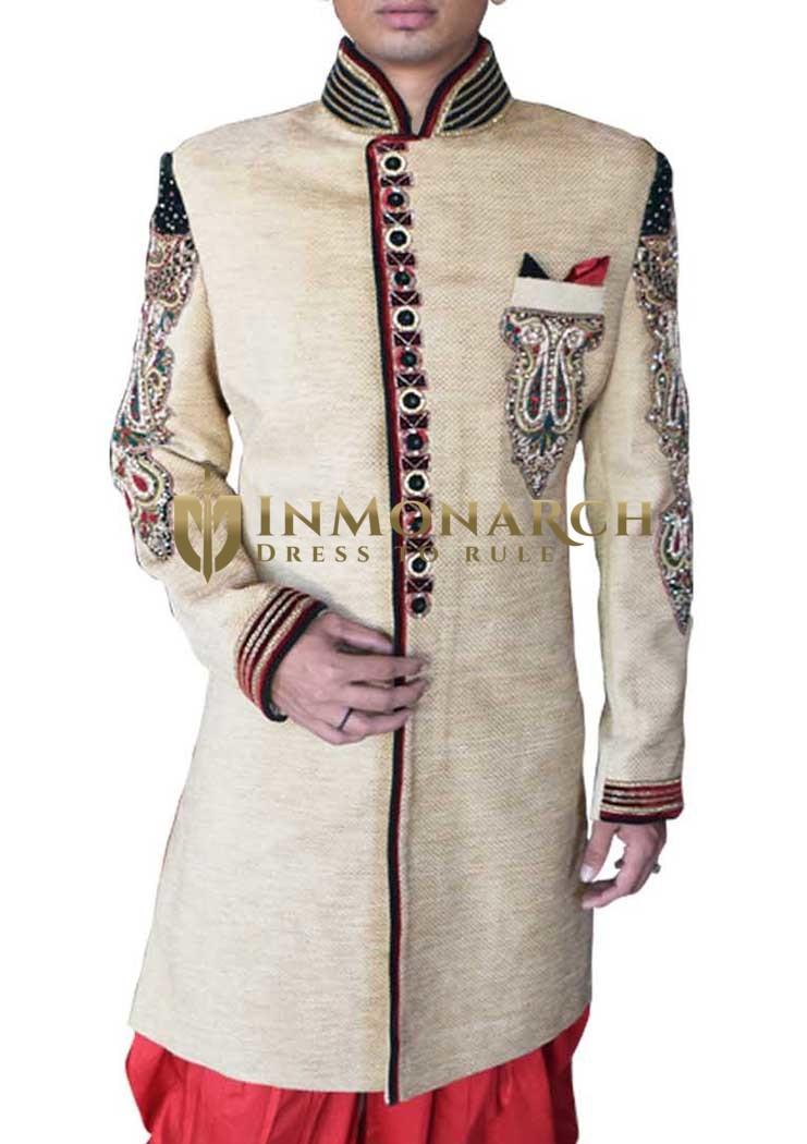 Mens Beige Wedding Sherwani Marvelous Velvet 3 Pc