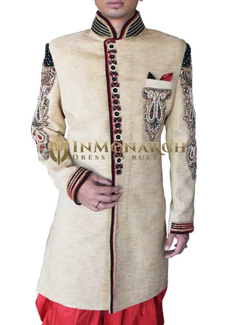 Mens Beige Velvet 3 Pc Wedding Sherwani Trimmed