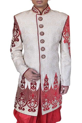 Mens Cream 2 Pc Wedding Sherwani Red Embroidery