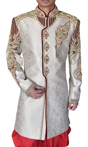 Mens Sherwani For Men Cream Wedding Sherwani Royal Look