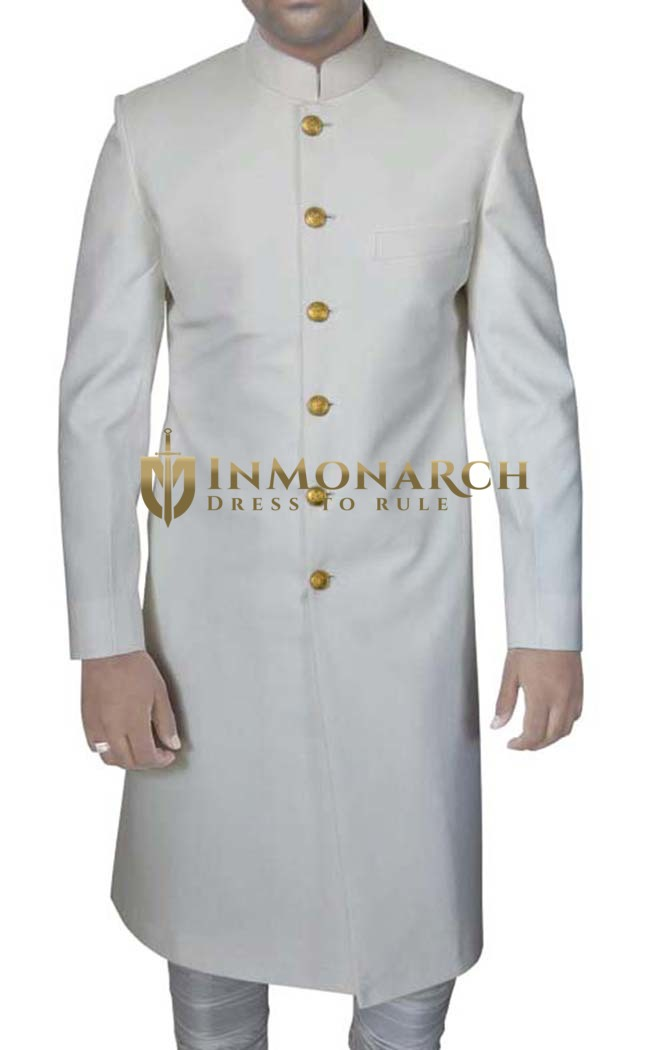Mens Cream Bandhgala 2 Pc Groom Sherwani