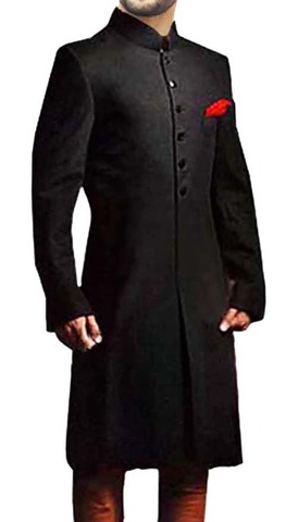 Mens Indian Wedding Men Black Sherwani Suit Royal Jodhpuri