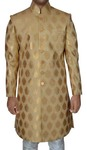 Mens Golden Brocade 2 Pc Wedding Sherwani