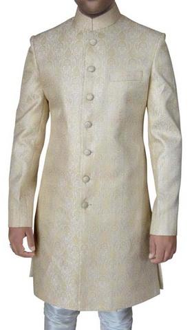 Mens Cream Sherwani Elegant Brocade 2 Pc