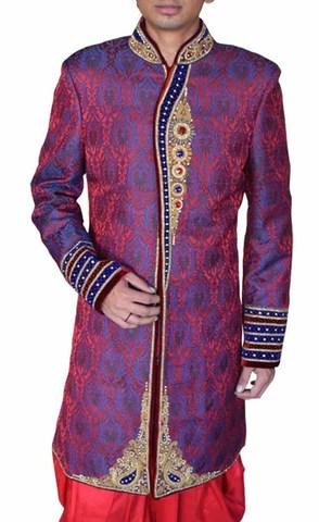 Mens Violet Wedding Sherwani Imperial 2 Pc