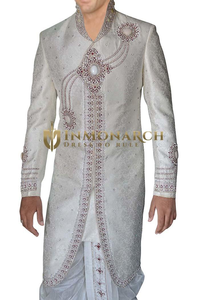 Mens Cream Groom Sherwani Special Look 2 Pc