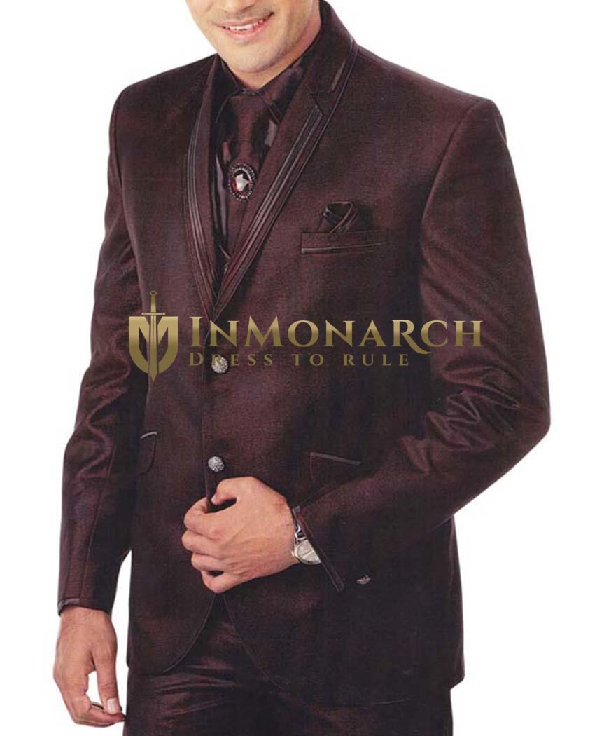 Mens Brown 7 Pc Tuxedo Suit Double Lapel