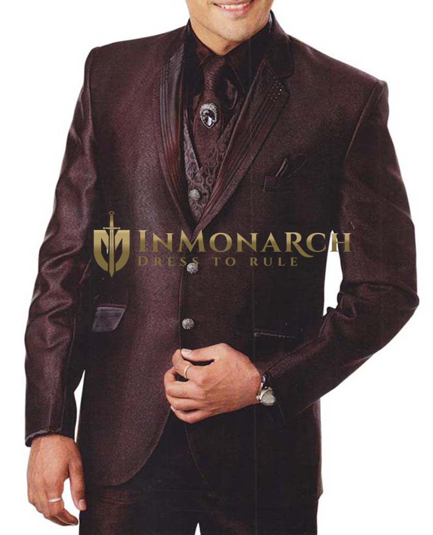 Mens Brown Polyester 7 Pc Tuxedo Suit