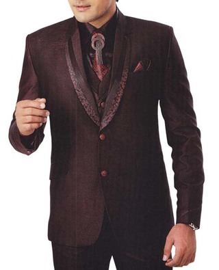 Mens Brown 7 Pc Tuxedo Suit Modern Look