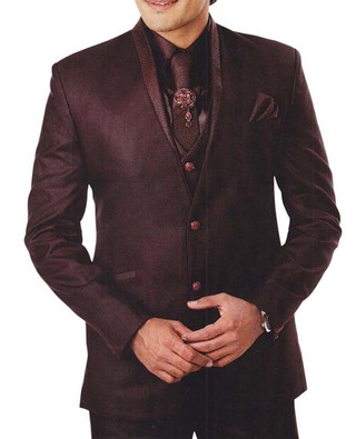 Mens Brown 7 Pc Tuxedo Suit Indian Wedding