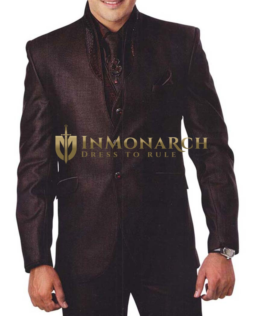 Mens Brown Tuxedo Suit Stylish 7 Pc