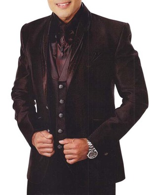 Mens Burgundy 7 Pc Tuxedo Suit Engagement