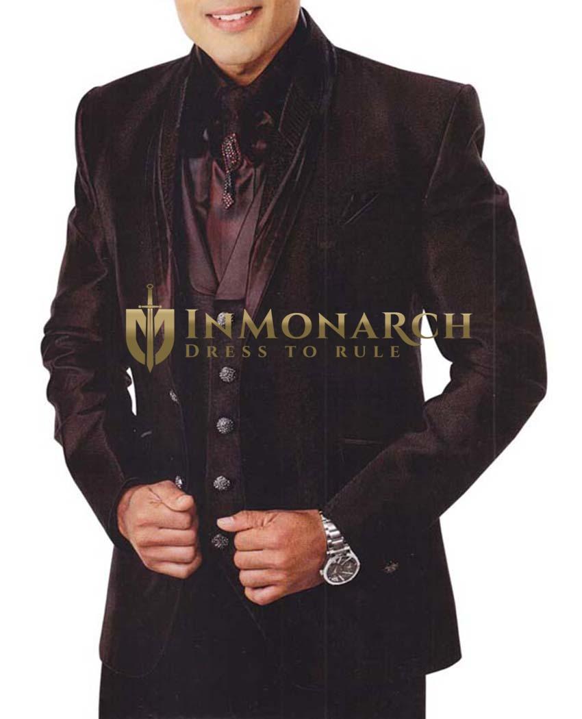 Mens Burgundy 7 Pc Tuxedo Suit Engagement