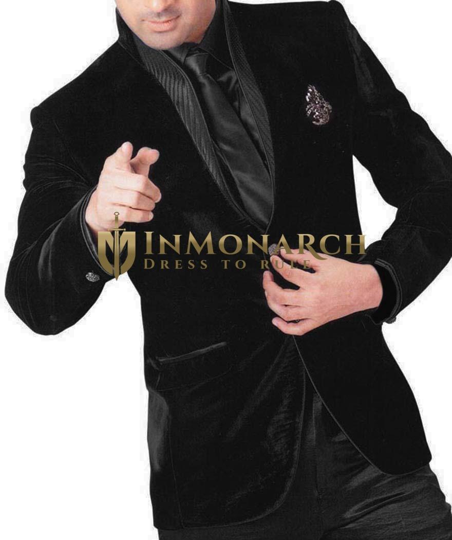 Mens Black Velvet 6 pc Tuxedo Suit Luxury