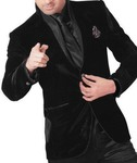 Mens Black Velvet 5 pc Tuxedo Suit Luxury